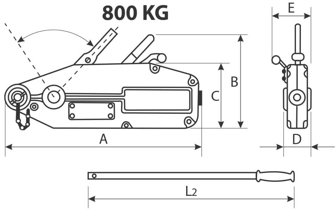 desen tehnic tirfor 800 kg