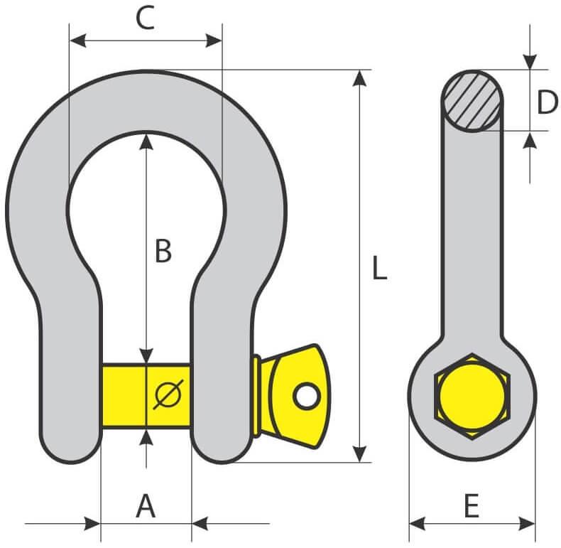 desen tehnic cheie tachelaj omega (ancora)