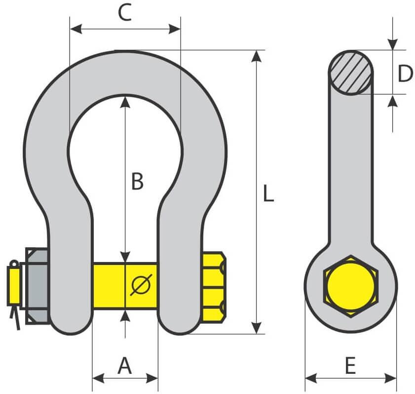 desen tehnic cheie tachelaj omega cu piulita si siguranta